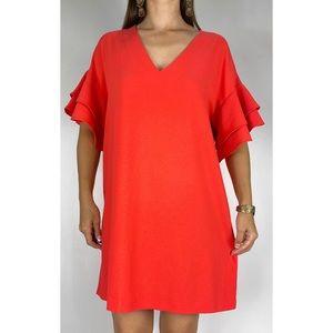 PORTMANS Bright Red Bell Sleeve V-neck Shift Dress Size AU 14